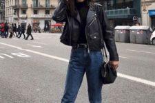 14 a black turtleneck, a black leather jacket, blue jeans, black boots and a black bag for spring