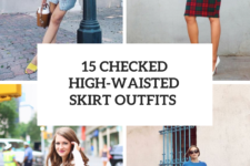 15 Outfits With Checked High-Waisted Skirts