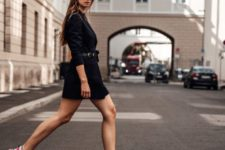 15 a daring look with a black blazer dress and colorful trainers for spring just wows