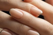 15 micro French nails with white and glitter tips look super romantic, chic and refined