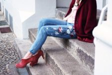 16 floral embroidered jeans, coral booties, a pink shirt and a marsala coat for a cozy look