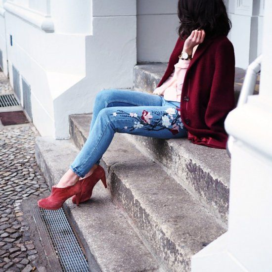 floral embroidered jeans, coral booties, a pink shirt and a marsala coat for a cozy look