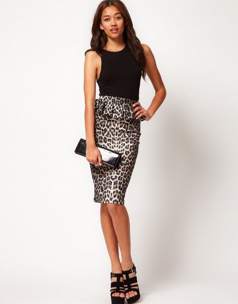 With black top, patent leather clutch and black platform sandals