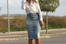 With button down shirt, bag and silver pumps