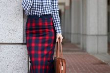 With checked button down shirt, brown leather bag and brown cutout shoes