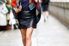 With color block cardigan, navy blue shirt, clutch and brown suede ankle boots