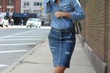 With denim shirt, two colored bag and printed flat shoes