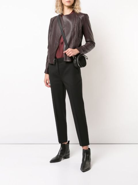 With marsala shirt, black rounded bag, cropped trousers and black ankle boots
