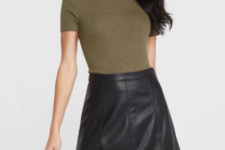 With olive green shirt
