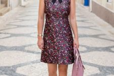 With pale pink bag, ankle strap shoes and sunglasses