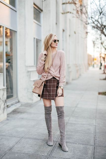 With pale pink wrap sweater, crossbody bag and gray boots
