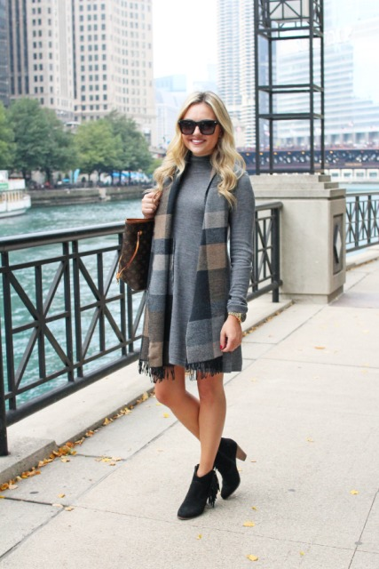 With plaid scarf, printed tote bag and black fringe ankle boots