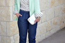 With polka dot button down shirt, silver shoes, white clutch and mint green blazer