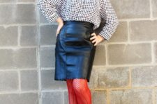 With printed blouse, red tights and black shoes