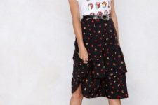 With printed t-shirt and black platform boots