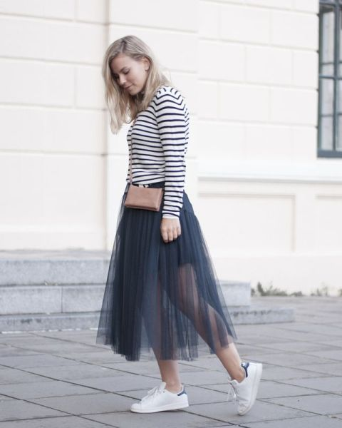 With striped shirt, mini bag and white sneakers