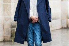 With sweatshirt, navy blue coat and printed cuffed jeans