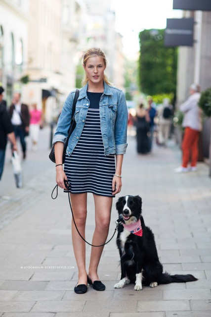 With white and navy blue striped mini dress, denim jacket and bag