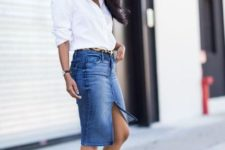 With white button down shirt, leopard belt and black pumps