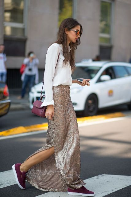 With white button down shirt, marsala bag and marsala sneakers