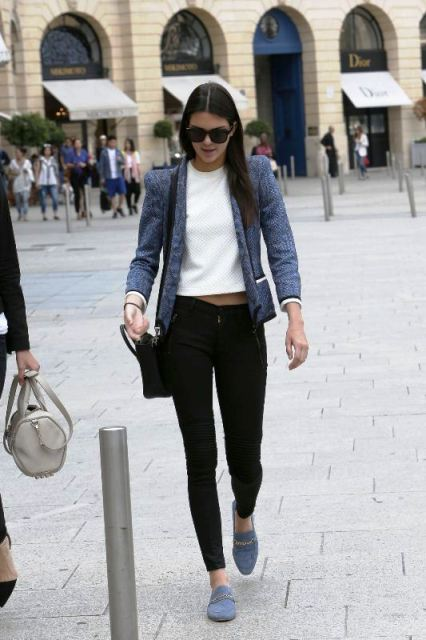 With white cropped shirt, black skinny pants, blazer and bag