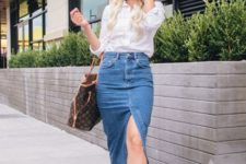With white loose shirt, printed tote bag and leopard flats