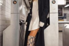 With white mini dress and black midi coat