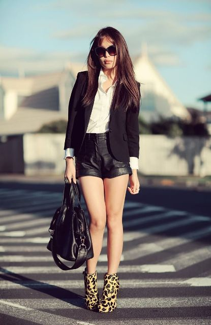 With white shirt, black blazer, tote bag and leopard ankle boots