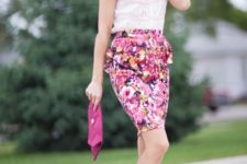 With white shirt, pink suede clutch and beige sandals