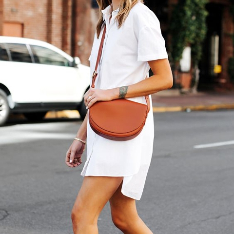 With white shirtdress