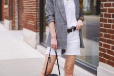 With white top, checked blazer, mini bag and ankle strap shoes