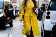 a bright spring look in black, white and sunny yellow, with a shirt, white shoes and a sunny yellow trench