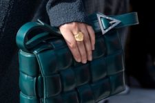 a gorgeous dark green woven leather bag will bring a touch of refined color and chic to your look