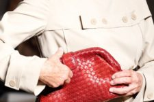 a retro bag of woven leather in bright red is a cool accessory that will make your stand out