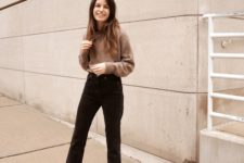 a taupe sweater, black straight jeans with fringe, brown suede square toe booties