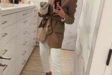 a white top, jeans, square toe heels, a camel long blazer for a chic spring work look