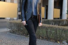 a work outfit with a grey tee, black cropped jeans, black heels and a black leather blazer