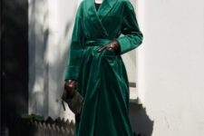 an emerald velvet midi trench is a statement solution which can be worn on a cold day and will give you a retro feel