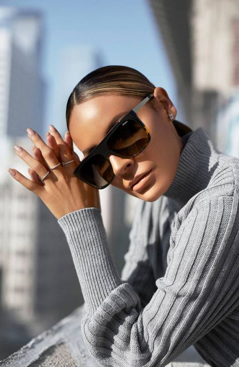 elegant D frame sunglasses with a turtoise lower frame is classics mixed up with soemthing edgy