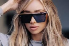 very futuristic and bold sunglasses in copper and black will make a chic and edgy statement