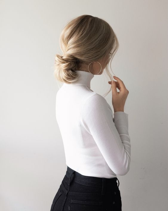 a casual twisted low bun with a sleek top is always a good idea that looks neat and cute