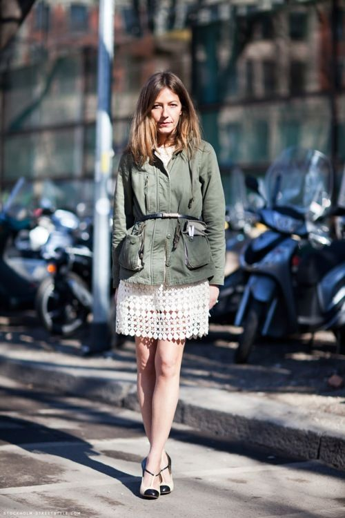 a white over the knee dress, two tone shoes and a green cargo jacket with a black belt to accent the waist