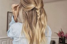 02 an easy half updo with a braid and some locks down is a cool idea for a casual look