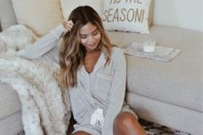 02 simple and cozy grey pajamas with a grey long sleeve top and mini shorts is a classic option