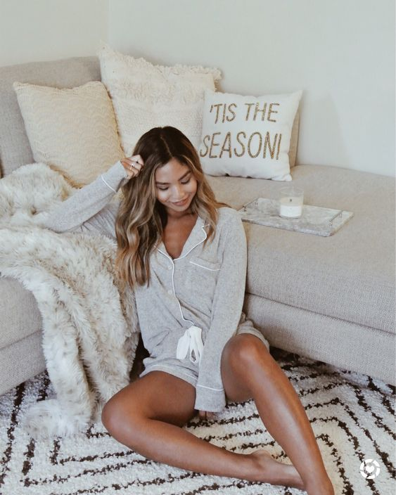 simple and cozy grey pajamas with a grey long sleeve top and mini shorts is a classic option