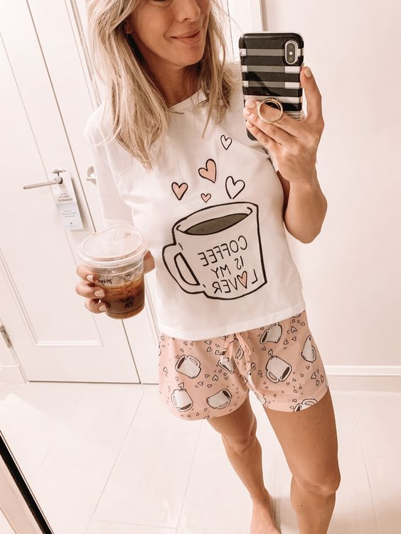 a funny pajamas set with a printed top and pink rpinted shorts is comfy and whimsy, raise your mood with it