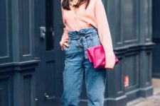 03 a trendy look with a blush blouse, blue paper bag jeans, fuchsia shoes and a matching clutch plus a beret