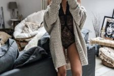 04 a black lace bodysuit, a comfy grey oversized cardigan, grey socks for a sexy and comfy look