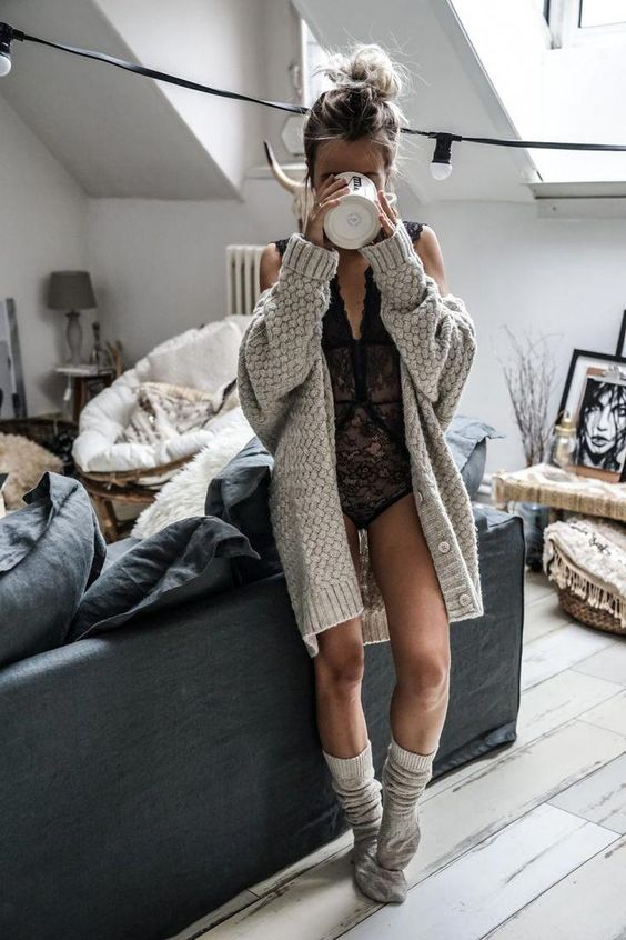 a black lace bodysuit, a comfy grey oversized cardigan, grey socks for a sexy and comfy look