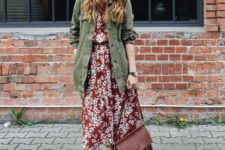 04 a burgundy floral midi dress, an olive grene cargo jacket, tan booties and a burgundy bag for a fall look